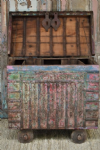 Antique Tribal Dowry Chest on wheels with faded paint tones